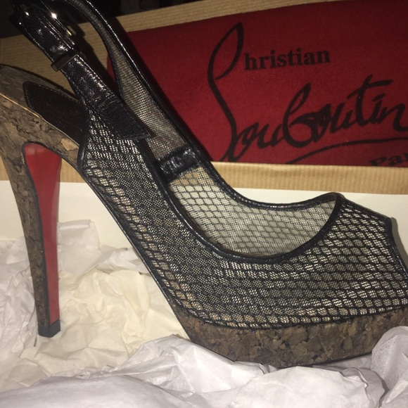 huge discount 4a0d3 fb613 Louboutin Black Peep Toe Mesh Cork Platforms Sz 5 NWT